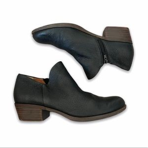 LUCKY BRAND BRIXLEE BLACK LEATHER ANKLE BOOTIE